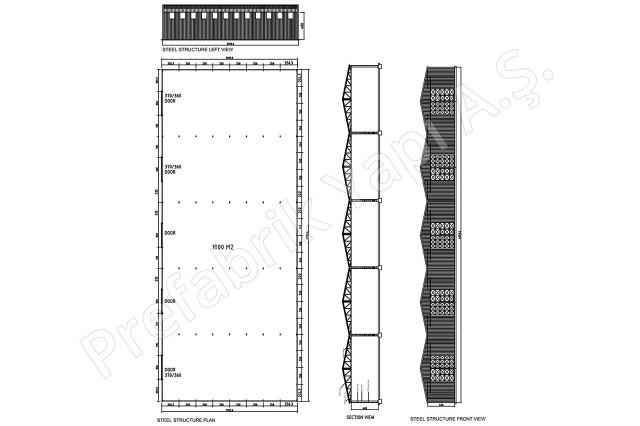 Structures d'acier 1000 m2