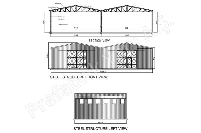 Structures d'acier 200 m2