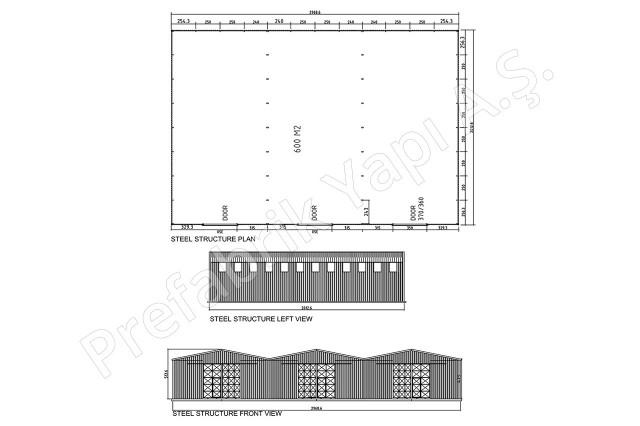 Structures d'acier 600 m2