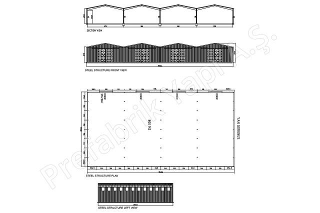 Structures d'acier 800 m2